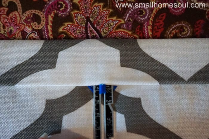 Using hem gauge for rod pocket of simple french door curtains.
