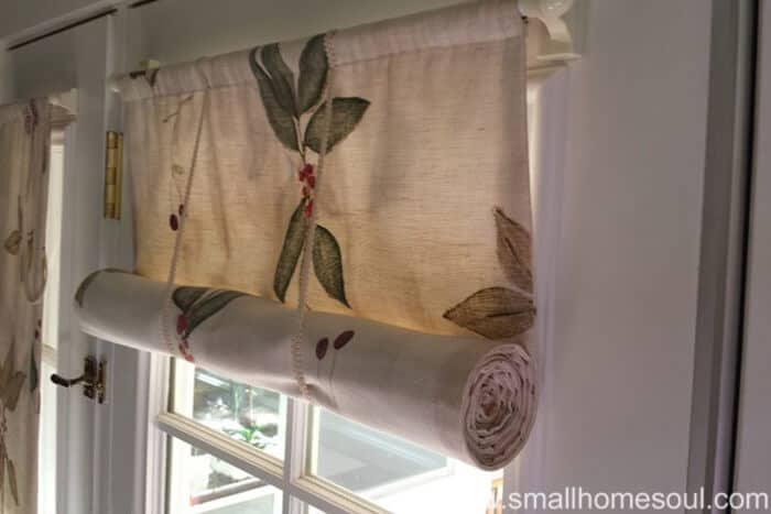 Simple French Door Curtains Rolled Up.