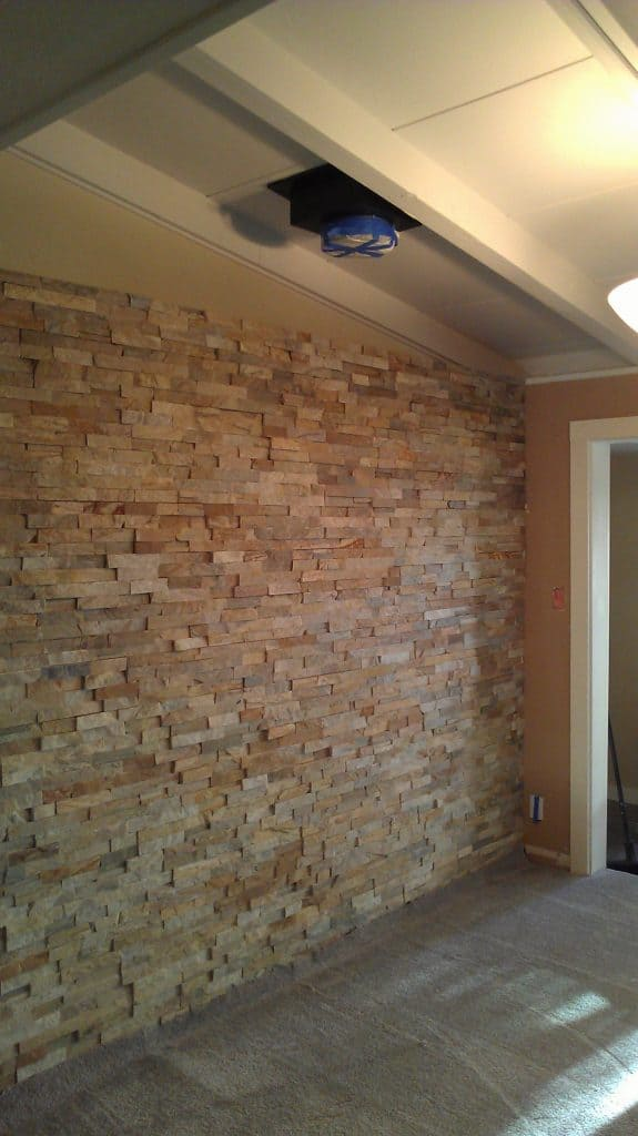 Completed quartz stacked stone feature wall.