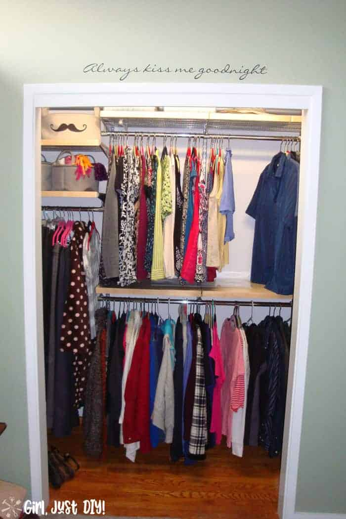 Filled with clothes and shoes after closet makeover.