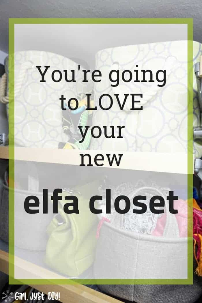 Photo collage graphic of closet makeover with images and text.