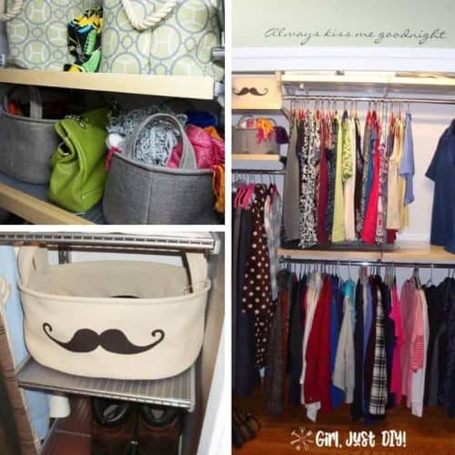 Collage with images of after pics of closet makeover.