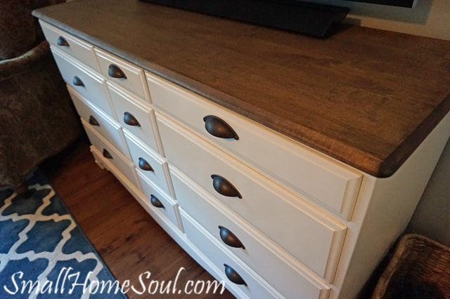 Completed TV Console with new drawer pulls in antique brash