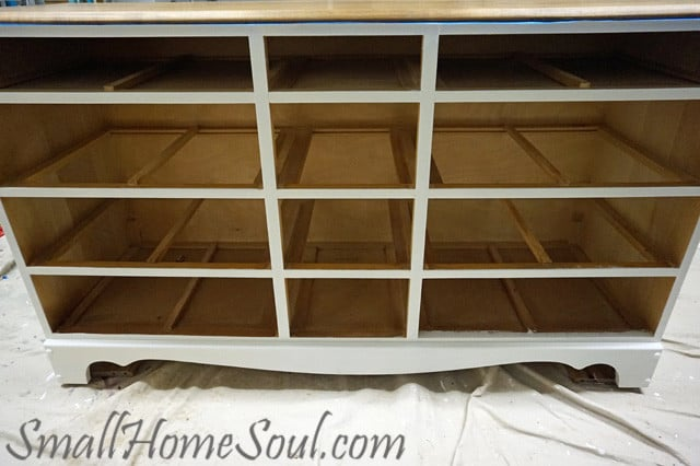 TV Console cabinet without drawers being painted.