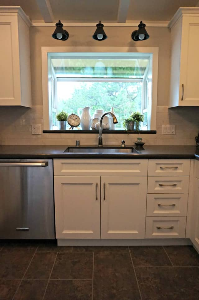 Kitchen Renovation completed showing new kitchen sink and garden window.