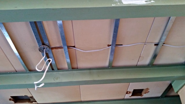 Running wire for new lights with sandwich light boxes.