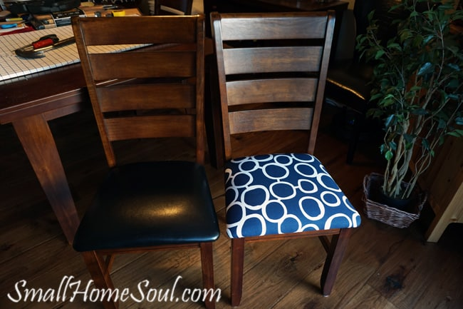 Before and after of dining chair reupholstered.
