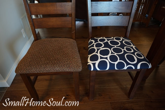 Showing Fabric one chair had been reupholstered in compared to fun blue with white circles fabric.