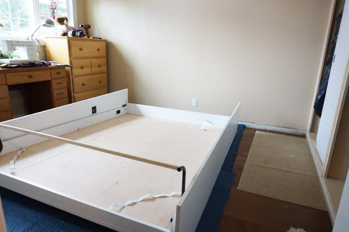 Platform of DIY Murphy Bed on floor in bedroom