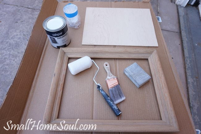 Paint roller and brush with chalkboard paint to make your Easy DIY Chalkboard from a Picture Frame.