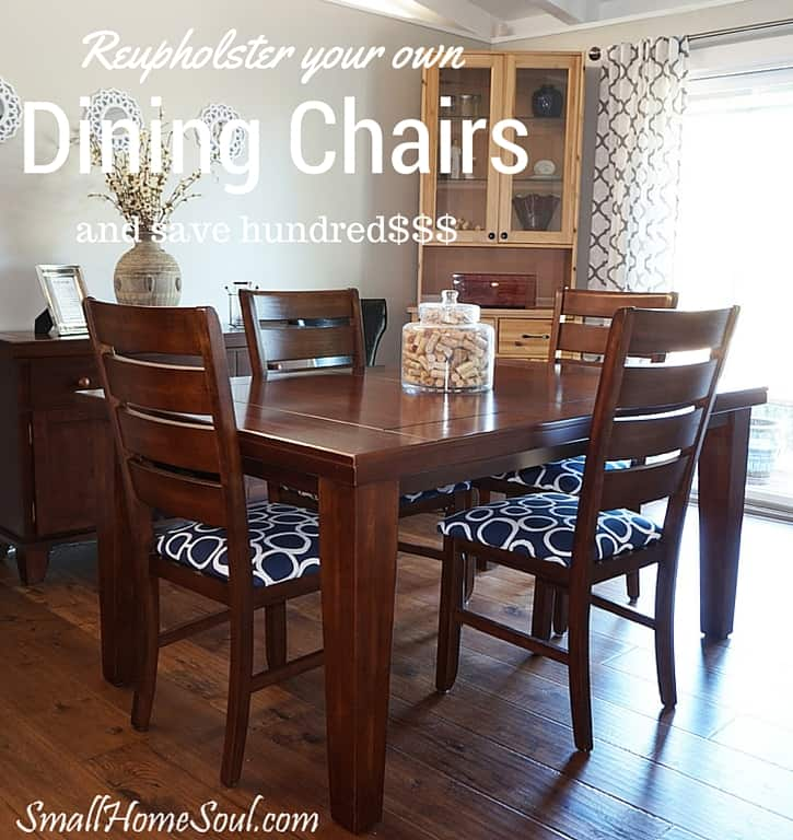 Pin graphic of completed dining room chairs after being reupholstered.