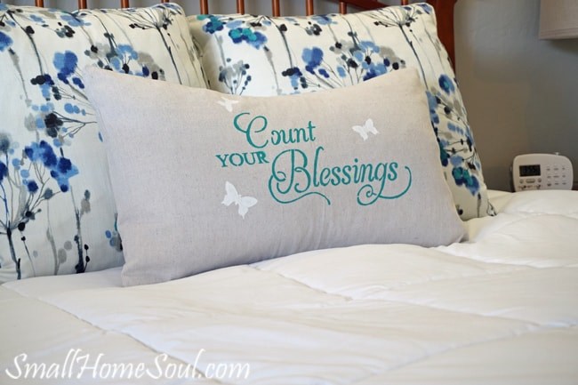 Making a stenciled drop cloth pillow cover is easy with this detailed tutorial. You can make one too in about an hour. www.smallhomesoul.com