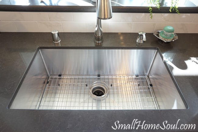 Huge and deep stainless steel kitchen sink.