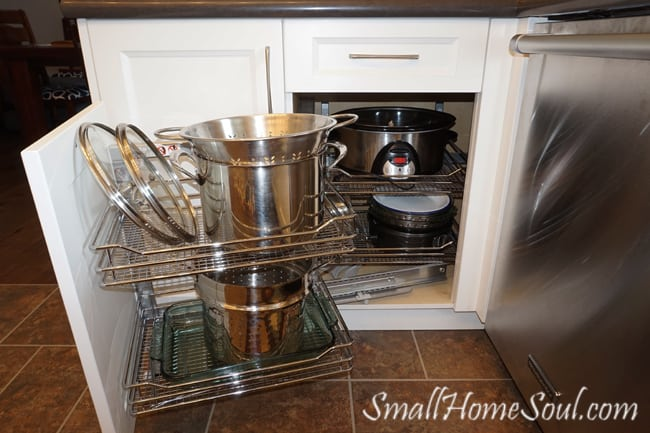 My Favorite Kitchen Features include this Magic Corner, it gives me easy access to seldom used items and makes use of what would otherwise be a dead corner.