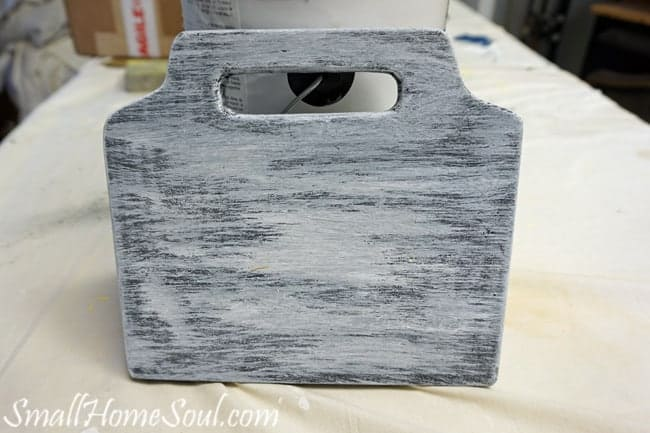 Layering paint on for mason jar utensil caddy.