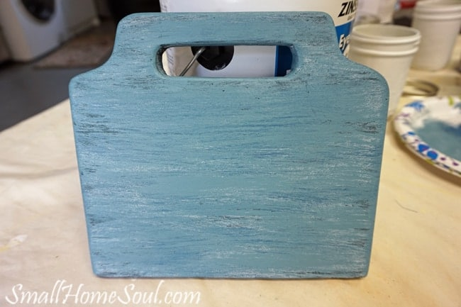 Final blue painted board for mason jar utensil caddy.