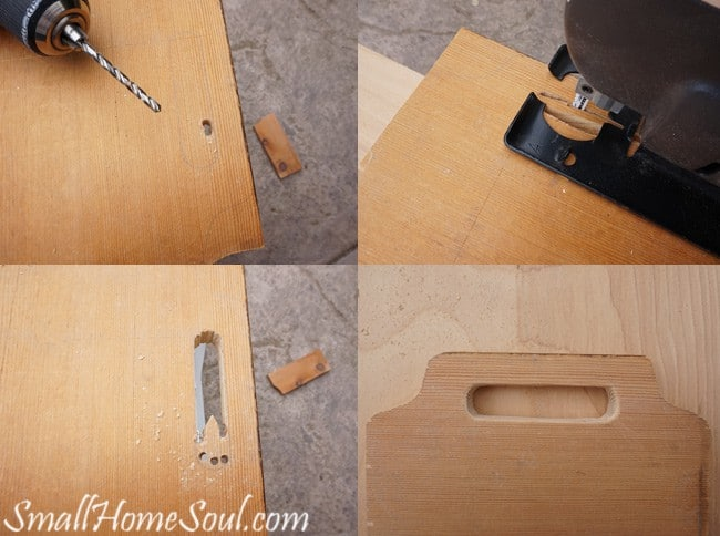 Cutting out the handle for the mason jar utensil caddy.