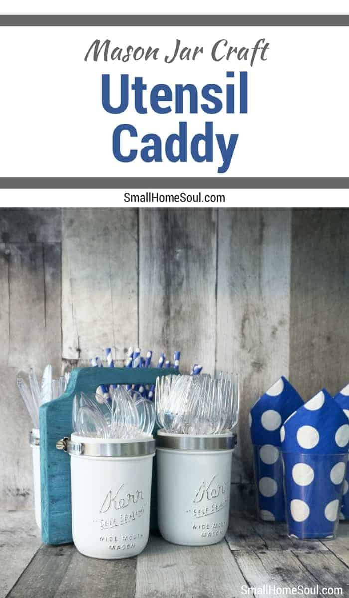 Pin this mason jar utensil caddy tutorial so you can make your own.