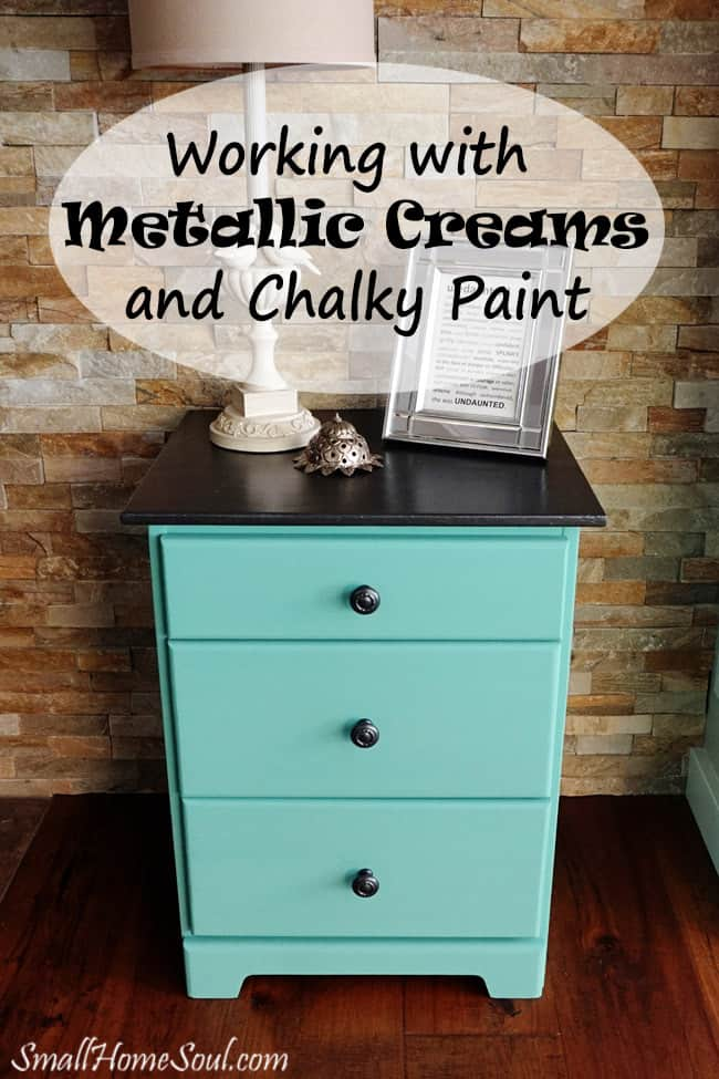 Quickly transform a tired old nightstand into something beautiful with metallic cream and a some fun paint. www.smallhomesoul.com
