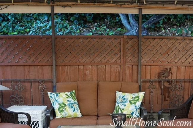 Plain gazebo before adding patio curtains.