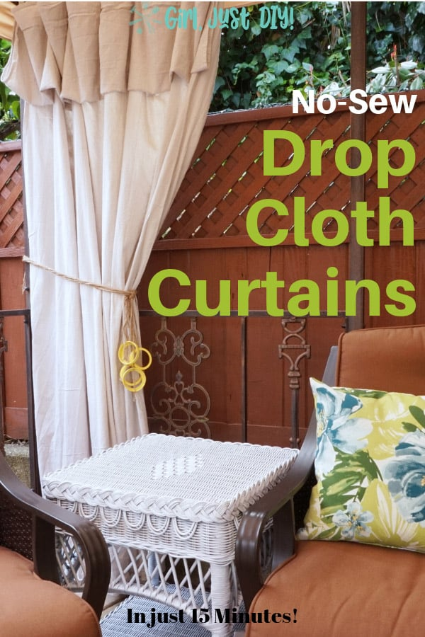 Drop Cloth Curtains with a twine tieback for pinterest image with green text overlay.