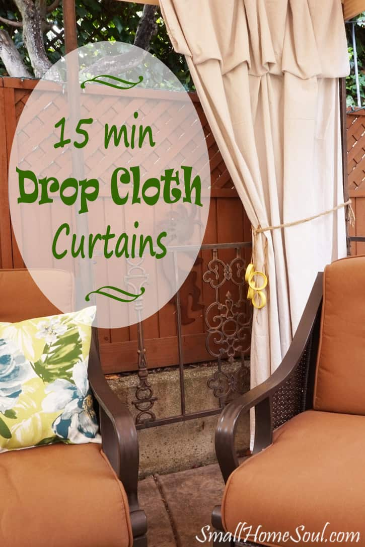 Drop cloth as curtains on patio