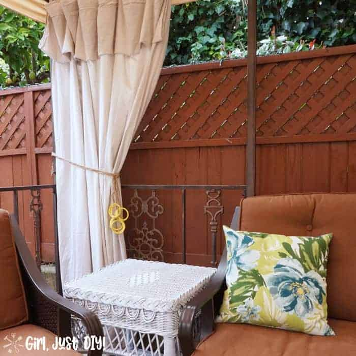 Left panel of drop cloth curtains on gazebo
