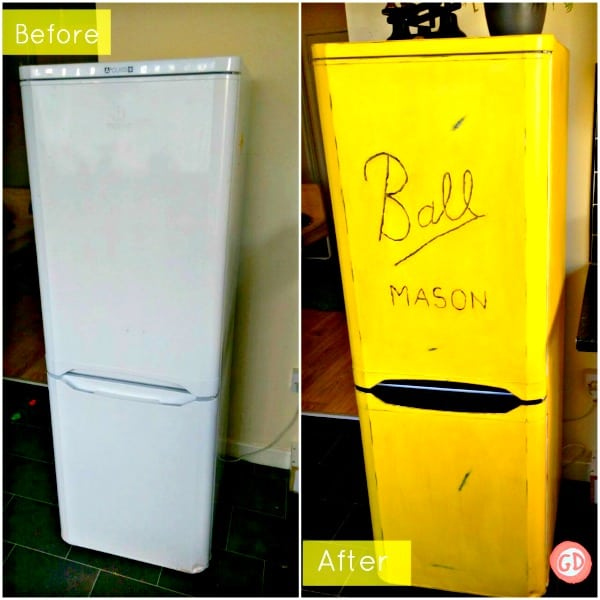 "Refrigerate painted yellow with ""Ball Mason"" decal to look like mason jar"