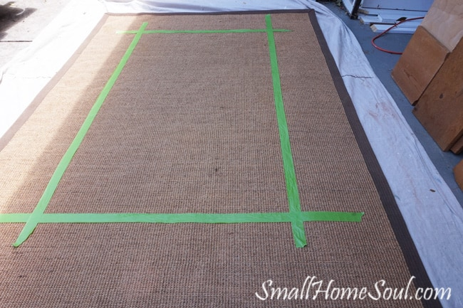 Painted Seagrass Rug with taped border.