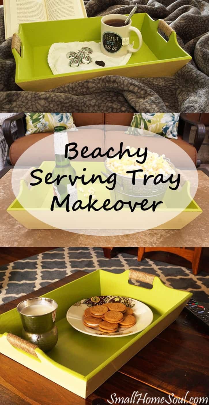 Do you have an old or ugly tray? You can get a similar looks as my beachy serving tray makeover with just a few supplies. www.smallhomesoul.com