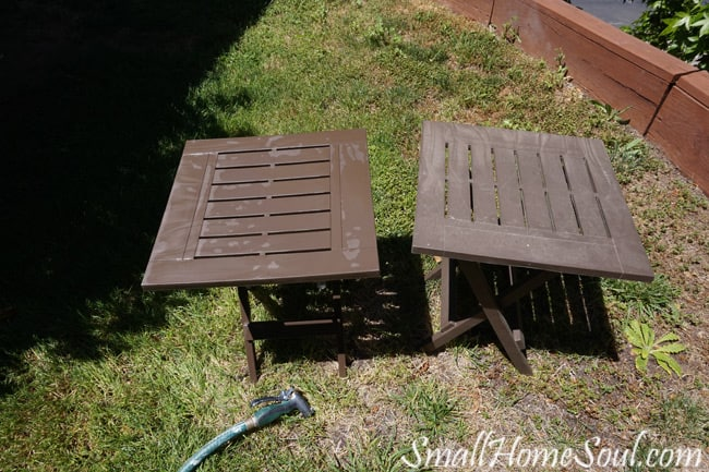 Check out Part 2 of my Patio Refresh Series which includes repairing a wicker table and giving a face lift to some inexpensive plastic side tables. www.smallhomesoul.com