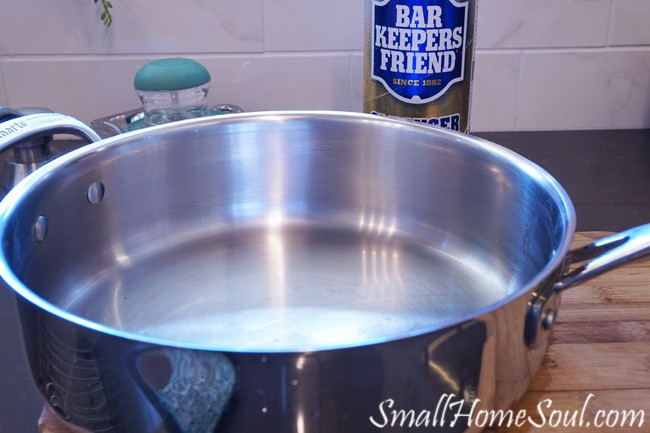 Every kitchen needs bar keepers friend! I will easily tackle cooked-on foods and other hard to clean messes in your kitchen and save on cleanup time. And, it's the most natural product on the market, win win! ….www.smallhomesoul.com