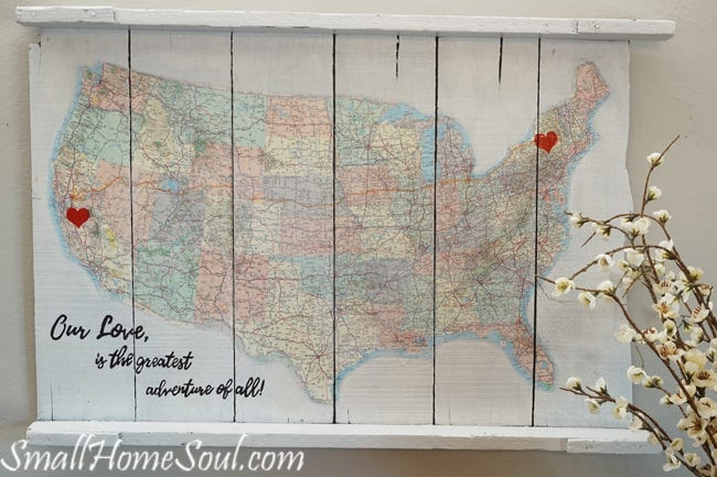 Make a personalized DIY Map Art project like this one with a map, a quote, and a few supplies with my easy to follow tutorial. This map is special since it maps out one of the journeys in our married life….www.smallhomesoul.com