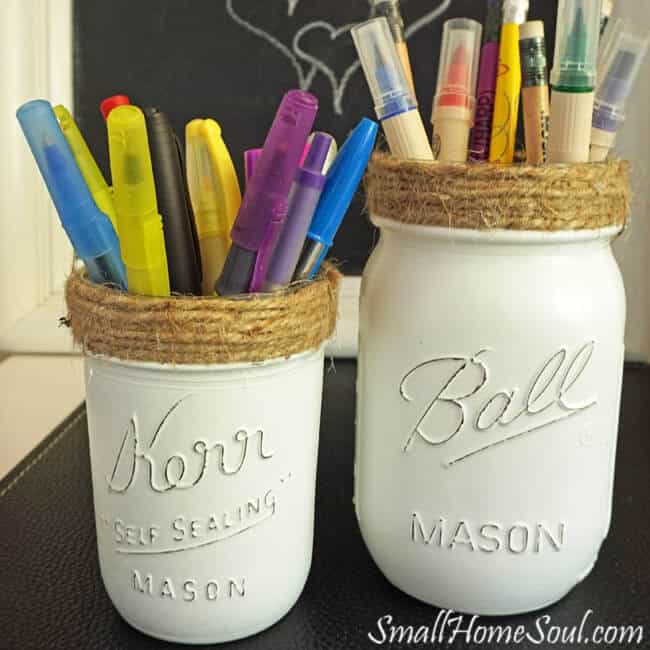 Make these easy DIY Mason Jar Pencil Holders for a stylish addition to your desk or office. Perfect for Pens, Pencils, Scissors, and Markers