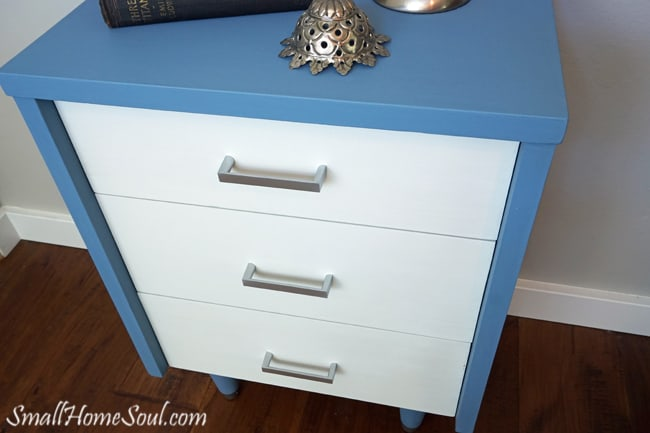 Top view of completed mid-century modern dresser in blue and white.