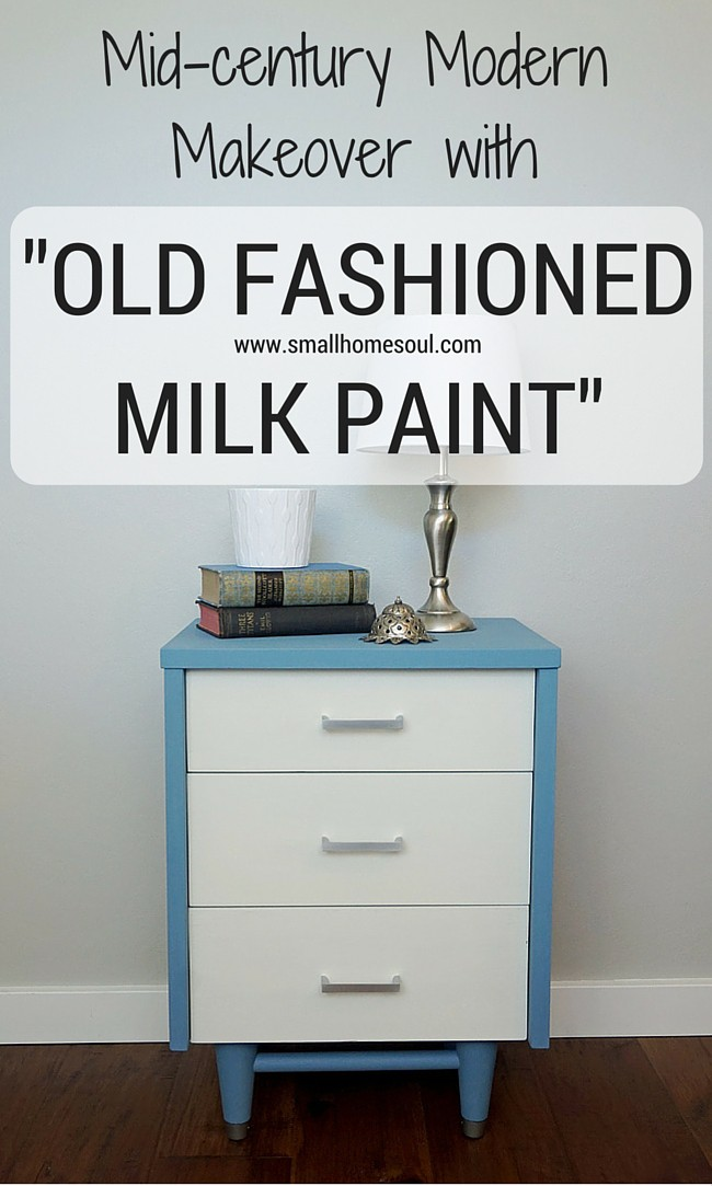 Pinterest image of completed mid-century modern dresser in blue and white.