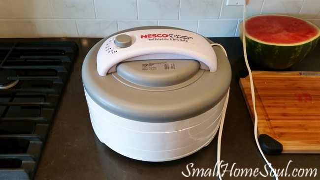 dehydrator filled and plugged into outlet on counter top.