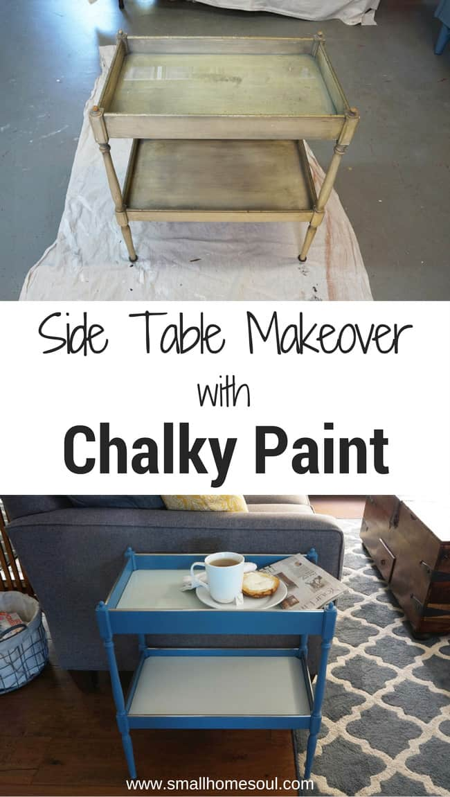 Chalky Paint Side Table makeover with Diva of DIY Chalk Mix turned this old boring table beautiful....www.smallhomesoul.com