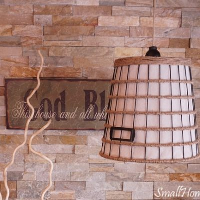 DIY Hanging Light from a Wire Basket