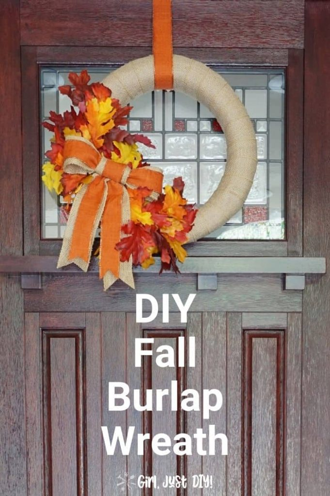 DIY Fall Burlap Wreath hanging on dark door with text overlay