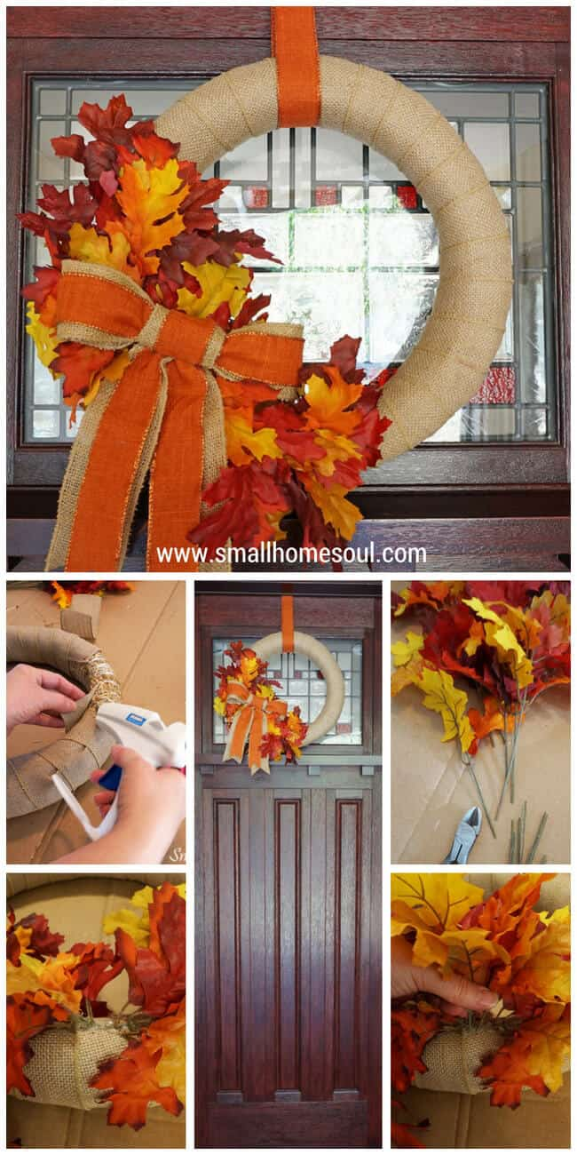 Come see how to make this quick and easy DIY Fall Wreath for a beautiful front door this Fall….www.smallhomesoul.com