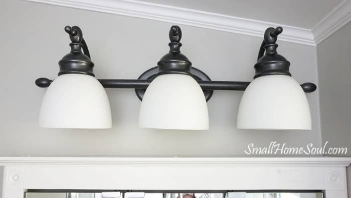 I love this light now, such a smart update in the Master Bathroom Makeover. And it was completed for less than $100!