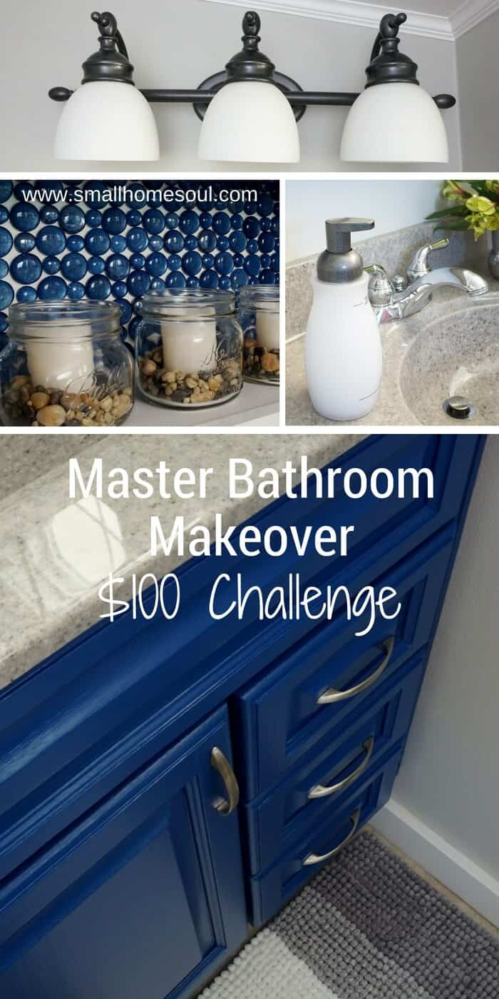 Master Bathroom Makeover on $100 Challenge Pinterest Collage