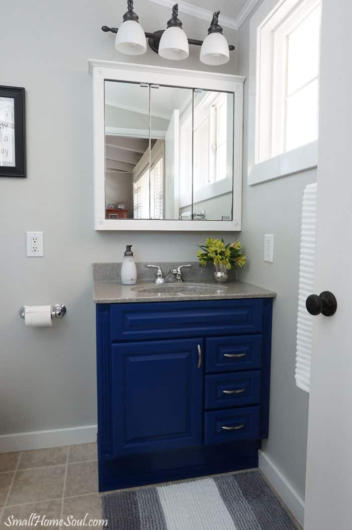 View of new blue vanity and white medicine cabinet from master bathroom doorway.