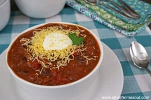 This easy chili with beans over rice looks so yummy, I'm making this tonight!