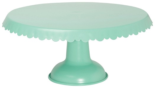 Green tin cake stand.