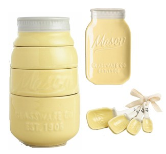 Yellow mason Jar measuring cup set