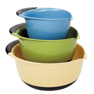Nesting mixing bowl set in blue, green, yellow