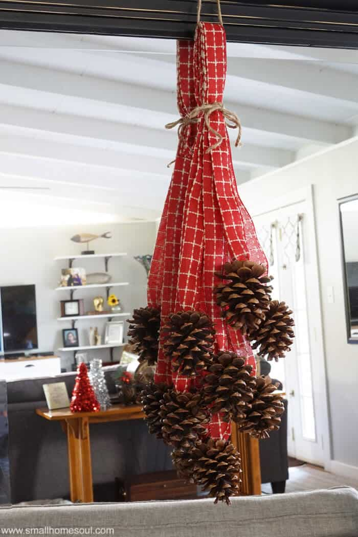 Make this quick and easy Pinecone Swag for beautiful but inexpensive Christmas decorating.