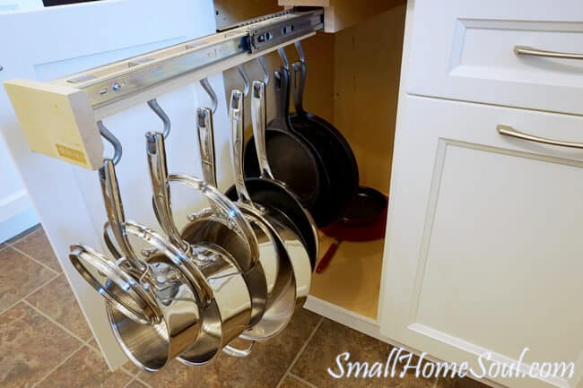 Pots and pans on a slide out rack.